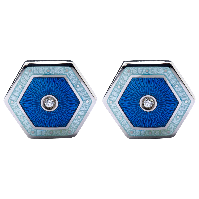 Alex Jona White Diamond Blue Enamel Sterling Silver Cufflinks