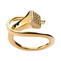 Alex Jona White Diamond Equestrian Horse Nail 18 Karat Yellow Gold Ring