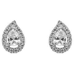 Alex Jona White Diamond Paisley Halo 18 Karat White Gold Stud Earrings