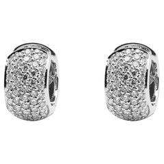 Alex Jona White Diamond Pavé White Gold Small Hoop Earrings