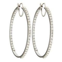 Alex Jona White Diamond White Gold Hoop Earrings