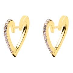 Alex Jona White Diamond Yellow Gold Heart Earrings