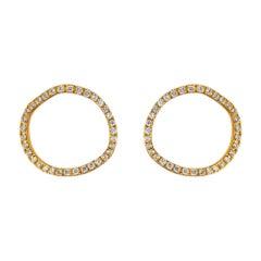 Alex Jona White Diamond Yellow Gold Open Circle Stud Earrings