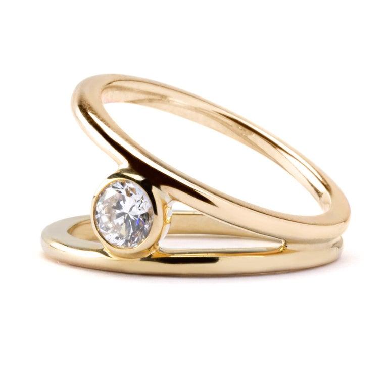 Contemporary Alex Jona White Diamond Yellow Gold Solitaire Ring For Sale