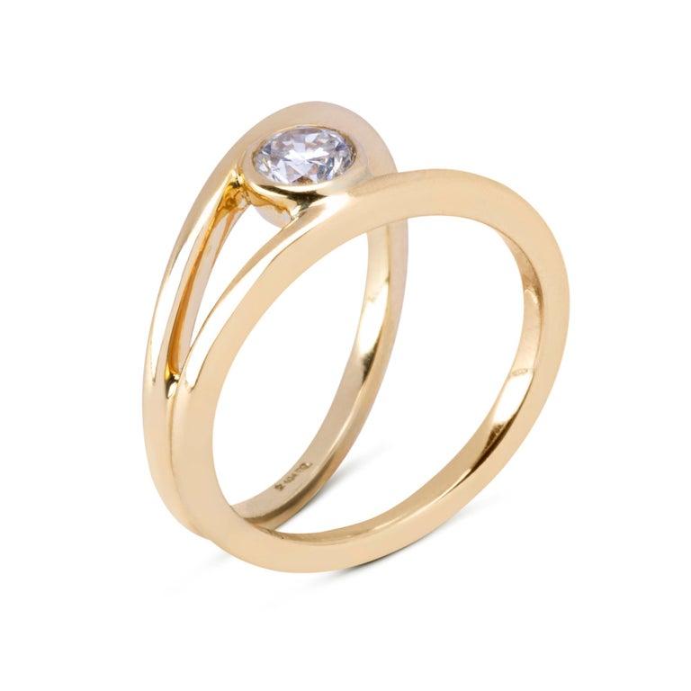 Women's Alex Jona White Diamond Yellow Gold Solitaire Ring For Sale