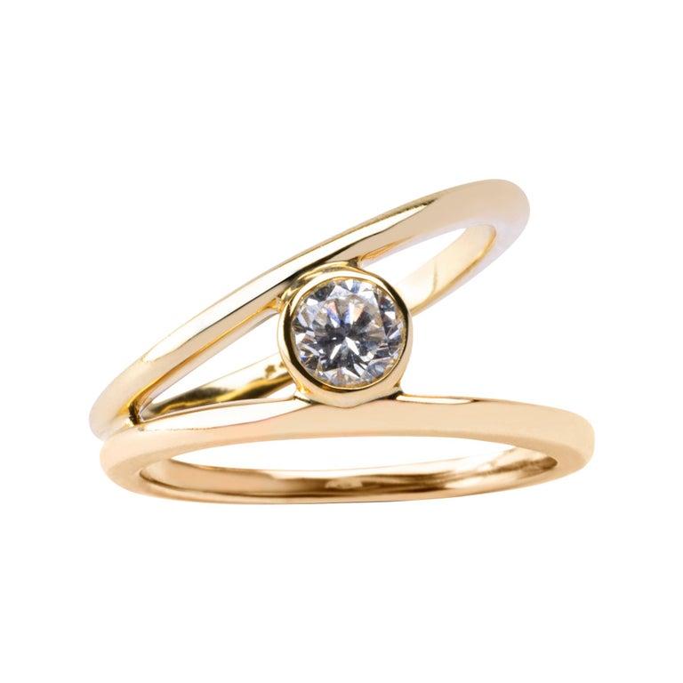 Alex Jona White Diamond Yellow Gold Solitaire Ring For Sale