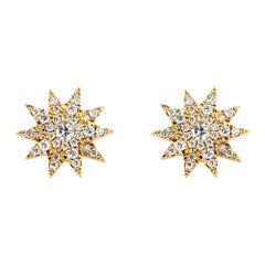 Alex Jona White Diamond Yellow Gold Star Earrings