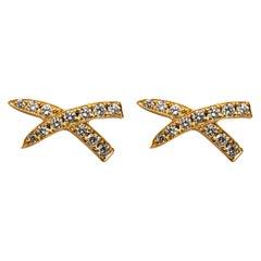 "Alex Jona White Diamond Yellow Gold ""X"" Design Stud Earrings"
