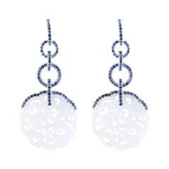 Alex Jona White Jade Blue & Blue Sapphire White Gold Dangle Earrings
