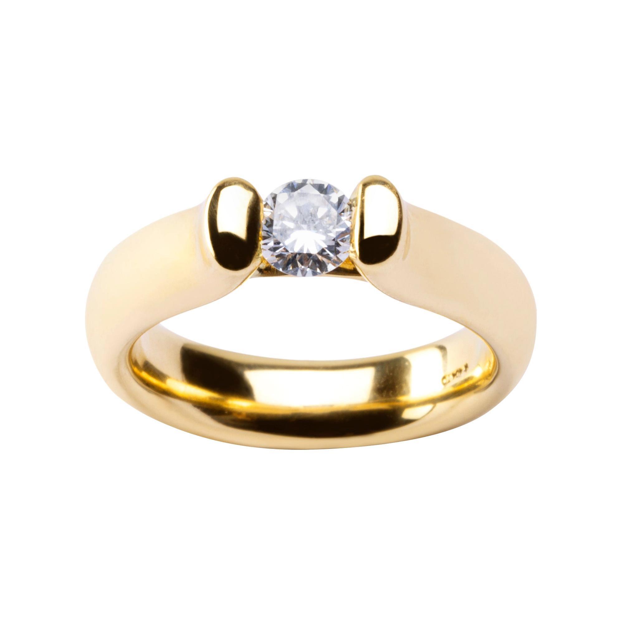 Alex Jona White White Diamond Yellow Gold Solitaire Band Ring