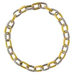 Alex Jona White & Yellow 18 Karat Gold Woven Chain Link Bracelet