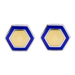 Alex Jona Yellow and Blue Enamel Sterling Silver Cufflinks