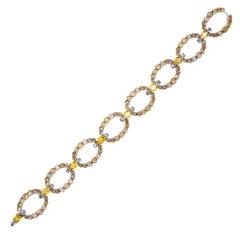 Alex Jona Yellow and Orange Sapphire White Diamond 18 Karat White Gold Bracelet