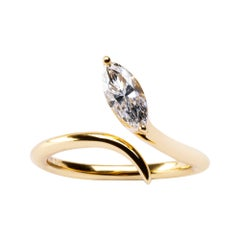 Alex Jona Yellow Gold Marquise Cut White Diamond Snake Cocktail Ring