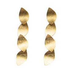 Alex Jona Yellow Gold Multiple Leaves Pendant Earrings