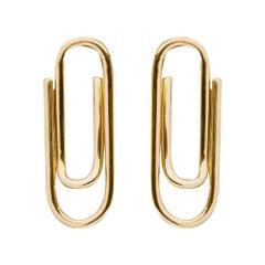 Alex Jona Yellow Gold Paper Clip Stud Earrings