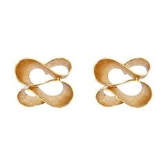 Alex Jona Brushed 18 Karat Yellow Gold Ribbon Stud Earrings