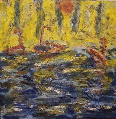 Ocean Ships Landscape Mixed Media Painting Oil on Linen Abstract Expressionism