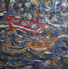 Ships Landscape Mixed Media Painting Oil on Linen Contemporary Art In Stock