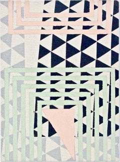 Allow - Abstract Geometric, Pink, Mint, Grey Painting on Canvas