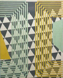 Difference Between - Abstract Geometric, Mint Green, Yellow, Grey on Canvas