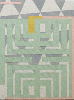 Experience - Abstract Geometric, Mint Green, Grey Painting on Canvas