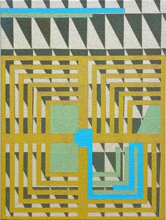 Including Everything - Abstract Geometric, Yellow Ochre, Blue, Grey on Canvas