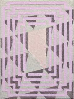 Polishing- Abstract Geometric, Pink, Grey Painting on Canvas