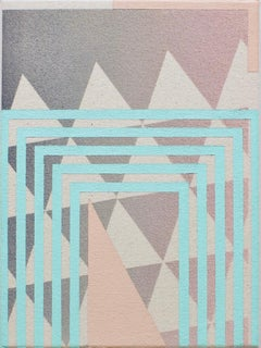 Realization of Truth- Abstract Geometric, Pink, Blue, Grey Painting on Canvas