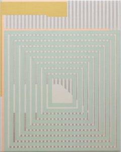 Way-Seeking Mind - Abstract Geometric, Mint Green, Pink, Grey on Canvas