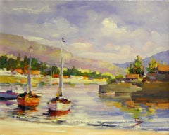 Bay Shore-Oil on Unstretched Canvas, Signed by Artist