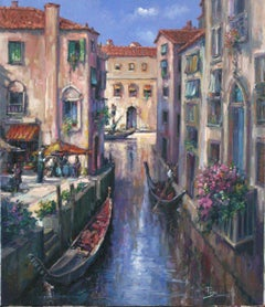 Evening in Venice-Oil on Canvas, Signed by Artist