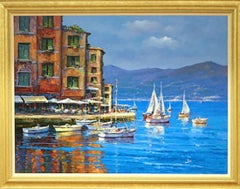 """Italian Harbor"" Signed and Framed Original Oil Painting on Canvas"