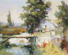 Provence Wooden Bridge-Oil on Canvas. Signed, comes with COA