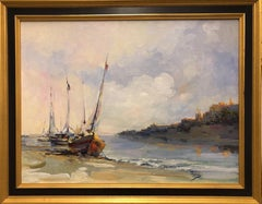 """Soft Light Boats"" Framed-Original Oil on Canvas, Signed by Artist"