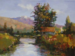 Spring Bridge-Acrylic on Canvas, Signed by Artist