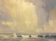 Study for Surf and Clouds-Original Oil on Unstretched Canvas, comes with COA
