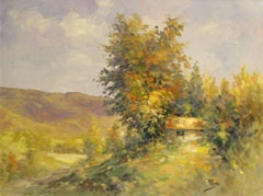 The Hill's House-Oil on Unstretched Canvas, Signed by Artist