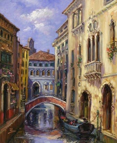 Venetian Bridge-Oil on Canvas, Signed by Artist