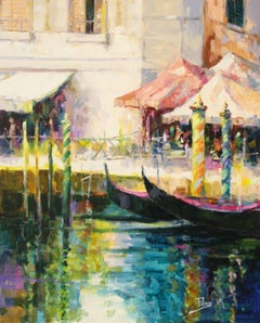 Venetian Promenade-Oil on Unstretched Canvas. Signed, comes with COA