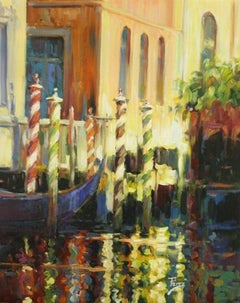 Venetian Sunset Impression-Oil on Canvas. Signed, comes with COA