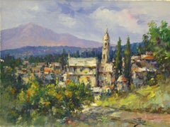 View of Venaco-Oil on Unstretched Canvas. Signed, comes with COA