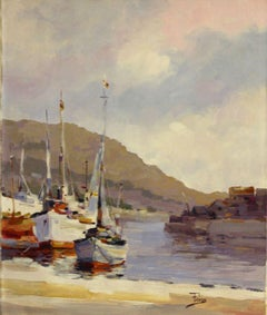 White Boats Pier-Acrylic on Unstretched Canvas. Signed, comes with COA