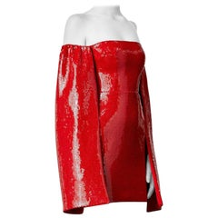 Alex Perry Red Off-Shoulder Sequin Mini Dress worn by Alesha Dixon - Size US 6