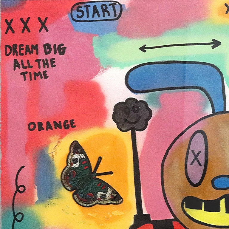 Alexander Reagan gravitates towards large scale mixed media compositions, often incorporating print, graffiti and textual elements. Influenced by contemporary street art – as well as his creative heroes Jean-Michel Basquiat and Robert Rauschenberg –