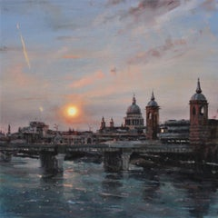 Sun over Cannon Street (no.3) BY ALEX RENNIE, Original Oil Cityscape Painting