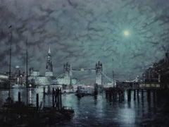 Tower Bridge Nocturne, Alex Rennie, Original art, Oil on board