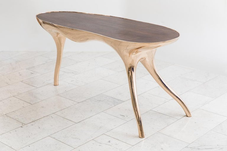Bronze Alex Roskin, Trois Jambes Console Table, USA For Sale