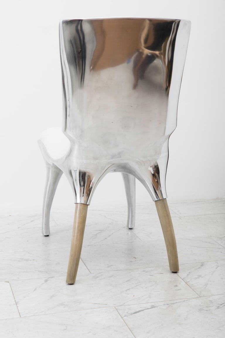 Alex Roskin, Tusk High Chair in Polished Aluminum, USA In New Condition For Sale In New York, NY