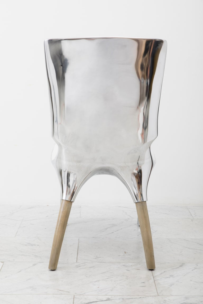 Contemporary Alex Roskin, Tusk High Chair in Polished Aluminum, USA For Sale